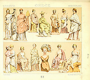 Ancient Greece fashion and accessories from Geschichte des kostüms in chronologischer entwicklung (History of the costume in chronological development) by Racinet, A. (Auguste), 1825-1893. and Rosenberg, Adolf, 1850-1906, Volume 1 printed in Berlin in 1888