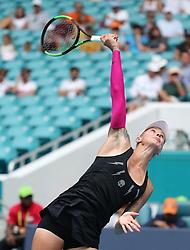 March 24, 2019 - Miami, FL, USA - Polona Hercog serves a ball to Simona Halpen on Sunday, March, 24, 2019 at the Miami Open in Miami Gardens, Fla. (Credit Image: © Charles Trainor Jr/Miami Herald/TNS via ZUMA Wire)