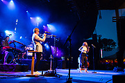 """Brooklyn, NY – 7 June 2017. Brooklyn-based Lake Street Dive opened the 2017 season of the BRIC Celebrate Brooklyn! Festival at the Prospect Park Bandshell to a packed venue. The band features Rachel Price on lead vocals; also on stage are Mike """"McDuck"""" Olson on trumpet and guest keyboardist Akie Bermiss."""