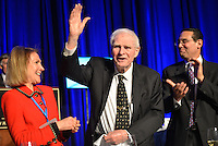 Former NJ Governor Brendan Byrne is acknowledged at the Congressional dinner. His wife Ruthie looks on.The New Jersey Chamber of Commerce held its annual Walk to Washington and Congressional Dinner on April 22 and 23, 2014. /Russ DeSantis Photography and Video, LLC