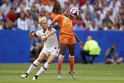 July 7, 2019 - Lyon, France - Lineth Beerensteyn (FC Bayern Munchen) of Netherlands and Abby Dahlkemper (NC Courage) of United States competes for the ball during the 2019 FIFA Women's World Cup France Final match between The United State of America and The Netherlands at Stade de Lyon on July 7, 2019 in Lyon, France. (Credit Image: © Jose Breton/NurPhoto via ZUMA Press)