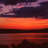 Sunset view on the Hudson River from Dobbs Ferry Westchester County in Upstate New York