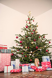 Christmas tree and gifts in living room