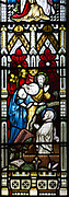 Victorian stained glass window depicting the Raising of Lazarus by Clayton and Bell, undated, Urchfont church, Wiltshire, England