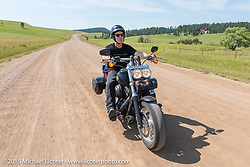 Jonathan Pite on his first ride to Sturgis during the 75th Annual Sturgis Black Hills Motorcycle Rally.  SD, USA.  August 3, 2015.  Photography ©2015 Michael Lichter.