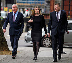 © Licensed to London News Pictures. 14/03/2017. London, UK. GORDON Ramsay's father-in-law CHRIS HUTCHESON (L), Orlanda Butland and his son ADAM HUTCHESON (R) arrive at Westminster Magistrates Court in London where they are charged with charged with hacking in to the celebrity chefs computer. Hutcheson, 68, is accused of conspiracy to access Ramsay's PC after a fall-out when the TV cook fired him as chief executive of his business. Photo credit: Ben Cawthra/LNP