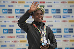 March 3, 2019 - Tokyo, Tokyo, Japan - Aga Ruti of ETH holds up the winner's trophy during the awards ceremony following his victory in the Tokyo Marathon 2019 in Tokyo, Japan, March 3, 2019. Some 38,000 runners participated in the thirteenth edition of the Tokyo Marathon, one of the six World Marathon Majors. (Credit Image: © Alessandro Di Ciommo/NurPhoto via ZUMA Press)