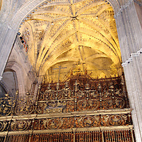 Europe, Spain, Seville. The Cathedral of Seville, Cathedral de Sevilla. Central nave above the choir.