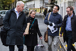 London, UK. 16 November, 2019. A freedom of movement activist from Movement for Justice calls out to Ian Lavery (l), Chair of the Labour Party, and Rebecca Long-Bailey, Shadow Secretary of State for Business, Energy and Industrial Strategy, as they arrive at Labour's Clause V meeting. The Clause V meeting, chaired by the party leader and attended by members of the National Executive Committee (NEC), relevant Shadow Cabinet members and members of the National Policy Forum, will finalise the party's general election manifesto. The meeting is named after Clause V of the Labour Party rulebook.
