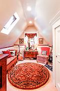 Loft bedroom interior in Lake Arrowhead cabin