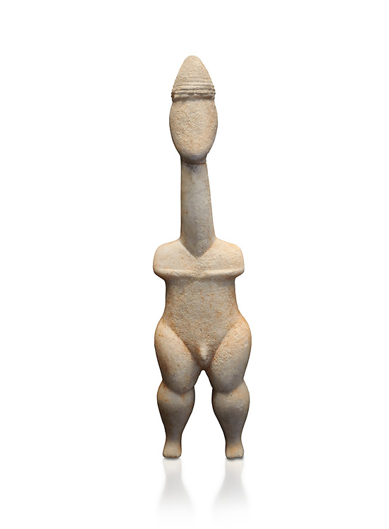 Cycladic statue figurine of the naturalistic 'Plastira' type of Paros. Early Cycladic Period I (Grotta-Pelos Phase 3200-2800 BC). National Archaeological Museum, Athens.   White background.<br /> <br /> <br /> This type of Cycladic figurine stand with feet lat to the ground with detailed facial features and ears to make a more realistic statue. This statue is of a hunter or warrior as it bears an incised weapon strap across its chest and holds a knife. .<br /> <br /> If you prefer to buy from our ALAMY PHOTO LIBRARY  Collection visit : https://www.alamy.com/portfolio/paul-williams-funkystock/cycladic-art-artefacts.html Type into the LOWER SEARCH WITHIN GALLERY box to refine search by adding background colour, place, museum etc<br /> <br /> Visit our CYCLADIC CIVILISATIONS PHOTO COLLECTIONS for more photos to download or buy as wall art prints https://funkystock.photoshelter.com/gallery-collection/Cycladic-civilisation-Ancient-Greek-Artefacts-art-Photos-Pictures-Images/C0000CmevVvnC.XU