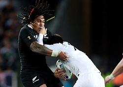 © Andrew Fosker / Seconds Left Images 2011 - New Zealand's Ma'a Nonu is driven back by France's Dimitri Yachvili - France v New Zealand - Rugby World Cup 2011 - Final - Eden Park - Auckland - New Zealand - 23/10/2011 -  All rights reserved..