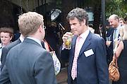 ALEXANDER LESCHALLAS;  ANDREW EVERALL, Archant Summer party. Kensington Roof Gardens. London. 7 July 2010. -DO NOT ARCHIVE-© Copyright Photograph by Dafydd Jones. 248 Clapham Rd. London SW9 0PZ. Tel 0207 820 0771. www.dafjones.com.