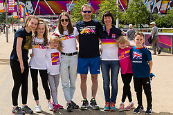 London, 2017-August-04. The Gregory family from Warrington, UK pose outside the London Stadium ahead of the first session of the IAAF World Championships London 2017. Paul Davey.