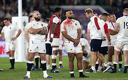 England's Billy Vunipola (right) and Joe Marler react during the 2019 Rugby World Cup final match at Yokohama Stadium.