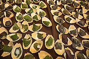Gabe Rosen of Biwa created onigiri rice balls wrapped in 2 types of shiso.