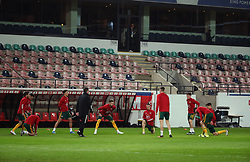 LEUVEN, BELGIUM - Wednesday, March 24, 2021: Wales players during the pre-match warm-up before the FIFA World Cup Qatar 2022 European Qualifying Group E game between Belgium and Wales at the King Power Den dreef Stadium. Belgium won 3-1. (Pic by Vincent Van Doornick/Isosport/Propaganda)