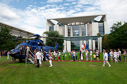 View of German Chancellor`s building the Bundeskanzleramt with helicopter during Open Doors Day in Berlin Germany