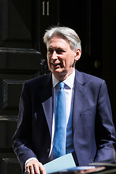 London, UK. 23 July, 2019. Philip Hammond MP, Chancellor of the Exchequer, leaves 11 Downing Street following the final Cabinet meeting of Theresa May's Premiership. The name of the new Conservative Party Leader, and so the new Prime Minister, is to be announced at a special event afterwards.