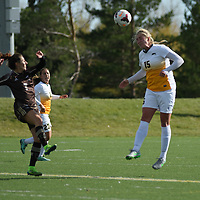5th year defender Racquel Marshall (15) of the Regina Cougars in action during the Women's Soccer Home Game on October 15 at U of R Field. Credit: Arthur Ward/Arthur Images