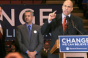 Newark City Mayor Cory Booker at Presidental Candidate Barack Obama Rally at The Izod Center at the Meadowlands in New Jersey on February 4, 2008