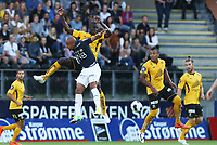 fotball, tippeliga eliteserien, start, strømsgodset  15.juli, 2014<br /> Marvin Ogunjumi, Strømsgodset<br /> Seyi Olofinjana, Start<br /> Foto: Ole Fjalsett