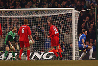 Photo. Daniel Hambury, Digitalsport<br /> Chelsea v Liverpool.<br /> <br /> Carling Cup Final.<br /> 27/02/2005<br /> Liverpool's Jerzy Dudek shows dissapointment as his side concede an own goal.