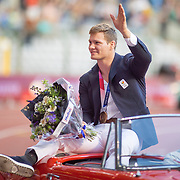BRUSSELS, BELGIUM:  September 3:   Matthias Casse during the olympians parade at the Wanda Diamond League 2021 Memorial Van Damme Athletics competition at King Baudouin Stadium on September 3, 2021 in  Brussels, Belgium. (Photo by Tim Clayton/Corbis via Getty Images)