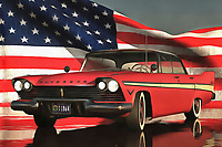 The bold, distinctive spirit of America comes alive in this powerful depiction of a classic Plymouth car. In the background, we can find the Stars and Stripes displayed proudly. A slight wind gives it the desired effect. Rich colors and lovely detail makes this a perfect example of fine art for those who believe that can be seamlessly combined with patriotism. To watch this piece, you will feel as though you are being filled with a sense of pride. Images as powerful as these can give us the energy and conviction we had in our youth. Available as t-shirts, wall art, or interior décor products. .<br /> <br /> BUY THIS PRINT AT<br /> <br /> FINE ART AMERICA<br /> ENGLISH<br /> https://janke.pixels.com/featured/1-old-timer-plymouth-jan-keteleer.html<br /> <br /> WADM / OH MY PRINTS<br /> DUTCH / FRENCH / GERMAN<br /> https://www.werkaandemuur.nl/nl/shopwerk/Klassieke-auto--Old-timer-Plymouth/435911/134