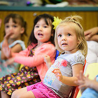 Eden Sandlin, 2, at story time with Mayor Jackie McKinney at the Octavia Fellin Public Library Children's Branch, Wednesday August 15, 2018.