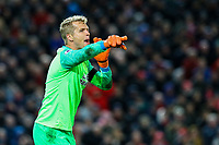 Huddersfield Town's Jonas Lossl gestures<br /> <br /> Photographer Alex Dodd/CameraSport<br /> <br /> The Premier League - Liverpool v Huddersfield Town - Friday 26th April 2019 - Anfield - Liverpool<br /> <br /> World Copyright © 2019 CameraSport. All rights reserved. 43 Linden Ave. Countesthorpe. Leicester. England. LE8 5PG - Tel: +44 (0) 116 277 4147 - admin@camerasport.com - www.camerasport.com