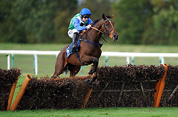 Midnight Jewel ridden by jockey Tom Buckley clears a fence on their way to winning the Boxing Day On Sale Now Handicap Hurdle at Huntingdon Racecourse. Picture date: Tuesday October 5, 2021.