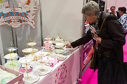 © Licensed to London News Pictures. 07/10/2016. Stand selling a selection of cake stands at The Cake & Bake Show. London, UK. Photo credit: Ray Tang/LNP