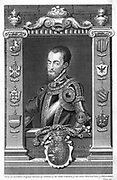 Philip II (1527-98) King of Spain (1556).  Son of Emperor Charles V (1500-1558), husband of Mary I (1518-1558) queen of England from 1553. Copperplate engraving of 1735 by  English printmaker George Vertue (1684-1756) after portrait by Titian (c1488-1576).