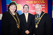 Cllr Mary Hoade with Damien English TD, Minister of State at the Department of Jobs, Enterprise & Innovation<br /> and Cllr Donal Lyons Mayor of Galway at the annual SCCUL Enterprise Awards prize giving ceremony and business expo which was hosted by NUI Galway in the Bailey Allen Hall, NUIG. Photo:Andrew Downes