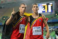 ATHLETICS - IAAF WORLD CHAMPIONSHIPS 2011 - DAEGU (KOR) - DAY 4 - 30/08/2011 - PHOTO : STEPHANE KEMPINAIRE / KMSP / DPPI - <br /> 400 M - MEN - FINALE - THIRD PLACE - KEVIN BORLE (BEL) - JONATHAN BORLE (BEL)