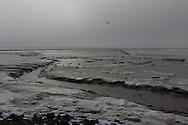 Winterse Waddenzee bij Holwerd.