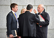 © Licensed to London News Pictures. 20/09/2011. BIRMINGHAM, UK.    Vince Cable talks with aides at the Liberal Democrat Conference at the Birmingham ICC today (20 Sept 2011): Stephen Simpson/LNP .