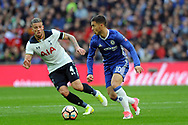 Chelsea's Eden Hazard (10) is shadowed by Tottenham's Toby Alderweireld. The Emirates FA Cup semi-final match, Chelsea v Tottenham Hotspur at Wembley Stadium in London on Saturday 22nd April 2017.<br /> pic by Carl Robertson,  Andrew Orchard sports photography.