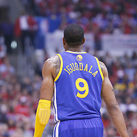 21 April 2014: Golden State Warriors forward Andre Iguodala (9) is seen during the Los Angeles Clippers 138-98 victory over the Golden State Warriors, during Game Two of the Western Conference Quarterfinals of the NBA Playoffs, at the Staples Center, Los Angeles, California, USA.