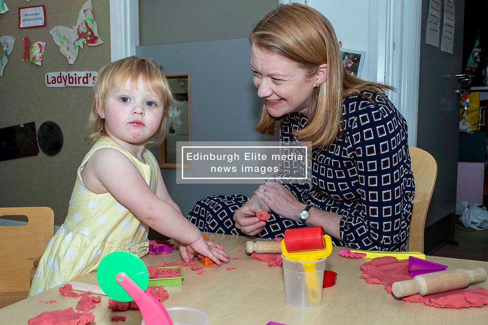 Pictured: Shirley-Ann Somerville chats to Ilsa at the play table<br /> <br /> Today Shirley-Ann Somerville MSP, Cabinet Secretary for Social Security, visited Stepping Stones inn Edinburgh and met parents who may be eligible for the Scottish Child payment, which is a new GBP10-a-week payment for every child aged up to six as part of measures to lift 30,000 children out of poverty.<br /> <br /> Ger Harley | EEm 4 September 2019