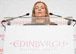 Scottish Parliament Election 2016 Royal Highland Centre Ingliston Edinburgh 05 May 2016; Ash Denham takes a breath before making her acceptance speech after winning Edinburgh Eastern  during the Scottish Parliament Election 2016, Royal Highland Centre, Ingliston Edinburgh.<br /> <br /> (c) Chris McCluskie | Edinburgh Elite media