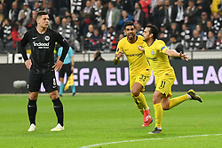 FRANKFURT May 3, 2019  Pedro Rodriguez (R) of Chelsea celebrates after scoring during the UEFA Europa League semifinal first leg match between Eintracht Frankfurt and Chelsea FC in Frankfurt, Germany, on May 2, 2019. The match ended in a 1-1 draw. (Credit Image: © Ulrich Hufnagel/Xinhua via ZUMA Wire)