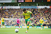 Norwich City midfielder Onel Hernández (25) surges forward during the EFL Sky Bet Championship match between Norwich City and Queens Park Rangers at Carrow Road, Norwich, England on 6 April 2019.