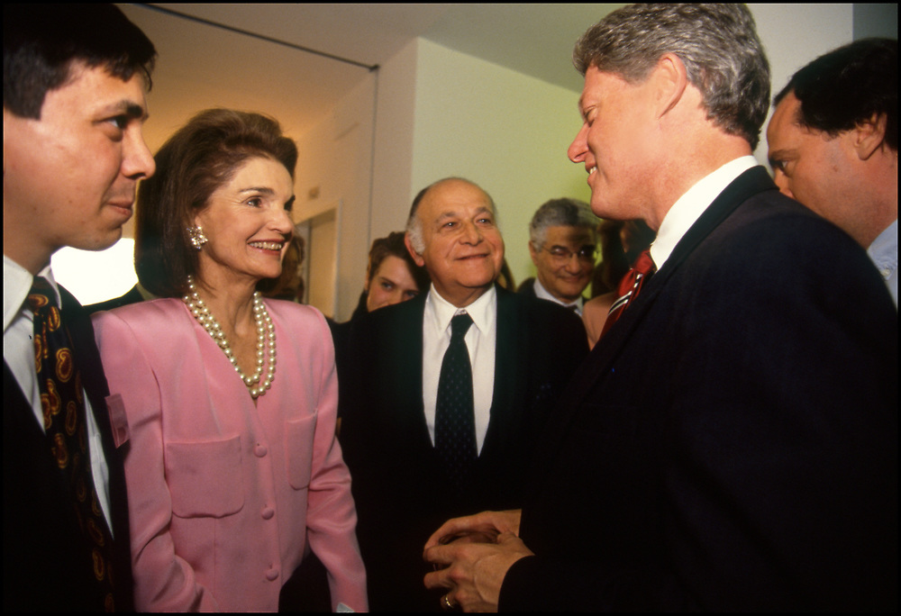 Jackie Onassis and her companion, Maurice Tempelsman attended a fundraiser for Presidential candidate Bill Clinton in New York City on May 21, 1992.