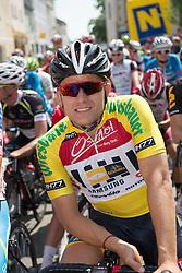 06.07.2015, Litschau, AUT, Österreich Radrundfahrt, 2. Etappe, Litschau nach Grieskirchen, im Bild Gerald Ciolek (GER, 1.Platz Gesamt) gelbes Trikot // 1st placed general Gerald Ciolek of Germany during the Tour of Austria, 2nd Stage, from Litschau to Grieskirchens, Litschau, Austria on 2015/07/06. EXPA Pictures © 2015, PhotoCredit: EXPA/ Reinhard Eisenbauer