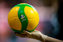 A feature of a ball and glove during volleyball match between Calcit Volley Kamnik vs LKS Commercecon Lodz in 2nd Round of CEV Champions League 2020/21, on October 14, 2020 in Sportna dvorana, Kamnik, Slovenia. Photo by Matic Klansek Velej / Sportida