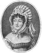 Head of a Woman Wearing a Striped Bonnet, engraving by Saint-Aubin (French, 1736-1807)