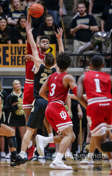 WEST LAFAYETTE, IN - JANUARY 19: Juwan Morgan #13 of the Indiana Hoosiers passes off the ball during the game against the Purdue Boilermakers at Mackey Arena on January 19, 2019 in West Lafayette, Indiana. (Photo by Michael Hickey/Getty Images) *** Local Caption *** Juwan Morgan