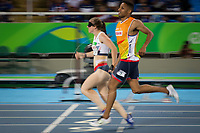 20160912 Copyright onEdition 2016©<br /> Free for editorial use image, please credit: onEdition<br /> <br /> Track athlete Libby Clegg, 200m T11 - Women,  from Stockport, competing for ParalympicsGB at the Rio Paralympic Games 2016.<br />  <br /> ParalympicsGB is the name for the Great Britain and Northern Ireland Paralympic Team that competes at the summer and winter Paralympic Games. The Team is selected and managed by the British Paralympic Association, in conjunction with the national governing bodies, and is made up of the best sportsmen and women who compete in the 22 summer and 4 winter sports on the Paralympic Programme.<br /> <br /> For additional Images please visit: http://www.w-w-i.com/paralympicsgb_2016/<br /> <br /> For more information please contact the press office via press@paralympics.org.uk or on +44 (0) 7717 587 055<br /> <br /> If you require a higher resolution image or you have any other onEdition photographic enquiries, please contact onEdition on 0845 900 2 900 or email info@onEdition.com<br /> This image is copyright onEdition 2016©.<br /> <br /> This image has been supplied by onEdition and must be credited onEdition. The author is asserting his full Moral rights in relation to the publication of this image. Rights for onward transmission of any image or file is not granted or implied. Changing or deleting Copyright information is illegal as specified in the Copyright, Design and Patents Act 1988. If you are in any way unsure of your right to publish this image please contact onEdition on 0845 900 2 900 or email info@onEdition.com